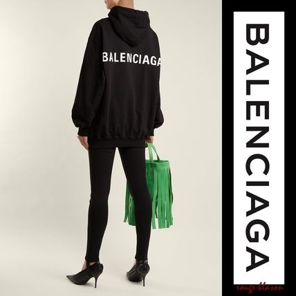 BALENCIAGA Hoodies Unisex Street Style Long Sleeves Plain Cotton Oversized 3