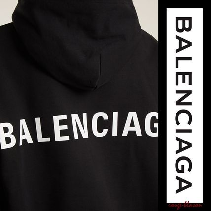 BALENCIAGA Hoodies Unisex Street Style Long Sleeves Plain Cotton Oversized 4