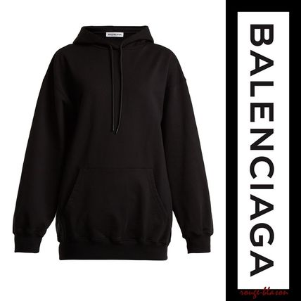 BALENCIAGA Hoodies Unisex Street Style Long Sleeves Plain Cotton Oversized 5