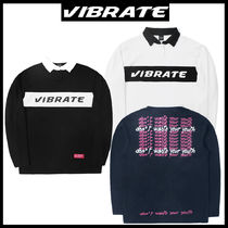 VIBRATE Unisex Street Style Long Sleeves Polos