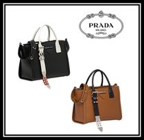 PRADA CONCEPT  Calfskin Studded Plain Office Style Handbags