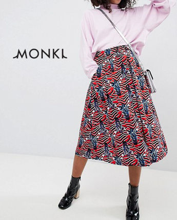 Zebra Patterns Casual Style Medium Midi Skirts