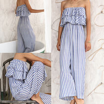 Dungarees Stripes Casual Style Street Style Long Dresses