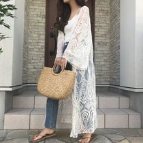 Flower Patterns Casual Style Cotton Long Gowns Puff Sleeves
