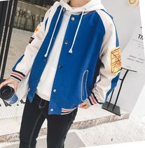Short Stripes Street Style Plain Oversized Varsity Jackets