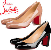 Christian Louboutin Round Toe Plain Block Heels Office Style