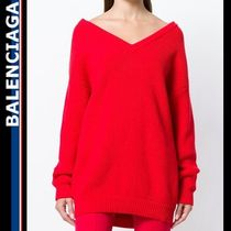 BALENCIAGA Casual Style V-Neck Long Sleeves Plain Cotton Medium