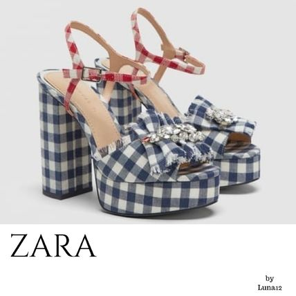 Gingham Open Toe Casual Style Chunky Heels Heeled Sandals