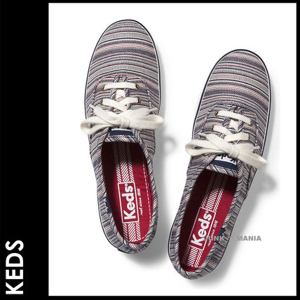 Stripes Plain Toe Lace-up Casual Style Street Style