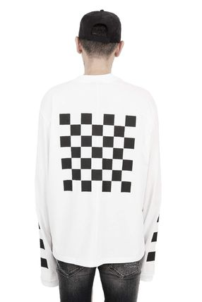 Crew Neck Other Check Patterns Street Style Long Sleeves