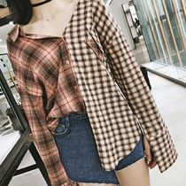 Short Other Check Patterns Casual Style Long Sleeves Cropped