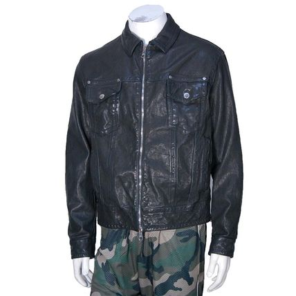 Short Street Style Plain Leather Biker Jackets