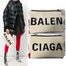 BALENCIAGA Canvas Plain Elegant Style Clutches