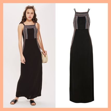 Topshop 2018 Ss Casual Style Maxi Sleeveless Long Dresses By Syvan