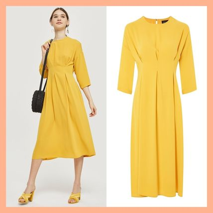 Topshop 2018 Ss Casual Style Flared Cropped Plain Medium Dresses By