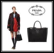 PRADA CONCEPT  Calfskin Blended Fabrics A4 2WAY Plain Office Style Handbags