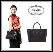 PRADA CONCEPT  Calfskin Blended Fabrics 2WAY Plain Office Style Handbags