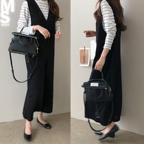 Dungarees Stripes Casual Style U-Neck Long Sleeves Long