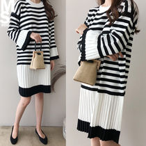 Stripes U-Neck Long Sleeves Medium Midi Elegant Style