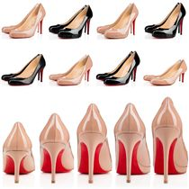 Christian Louboutin Round Toe Plain Leather Pin Heels Elegant Style