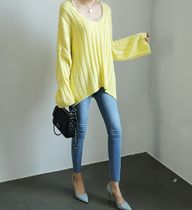 Casual Style V-Neck Oversized Puff Sleeves Sweaters
