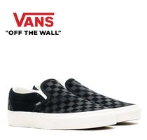 VANS SLIP ON Other Check Patterns Plain Toe Suede Street Style