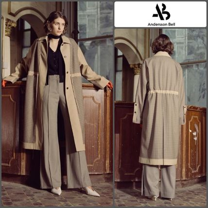 Other Check Patterns Wool Long Office Style Trench Coats