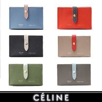 CELINE Strap Unisex Calfskin Bi-color Plain Card Holders
