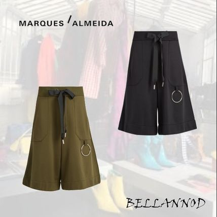 Blended Fabrics Plain Cotton Khaki Shorts