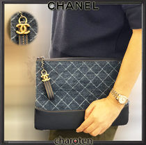CHANEL ICON Other Check Patterns Cambus Blended Fabrics Bag in Bag 2WAY