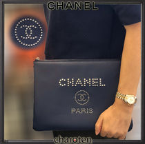 CHANEL DEAUVILLE Unisex Calfskin Studded Bag in Bag 2WAY Plain Clutches