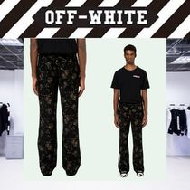 Off-White Printed Pants Flower Patterns Street Style Patterned Pants