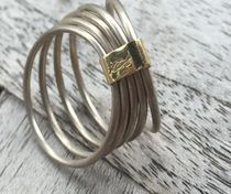 5 Silver925 Stacking Rings with 18K Gold Band