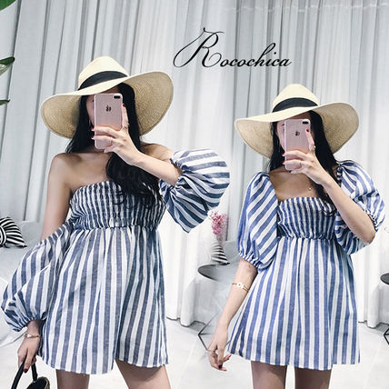 Stripes Casual Style Medium Bandeau & Off the Shoulder