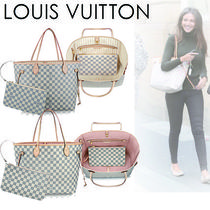 Louis Vuitton DAMIER AZUR Casual Style Canvas Blended Fabrics A4 2WAY Totes
