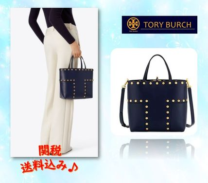 Blended Fabrics Studded Street Style 2WAY Bi-color Plain