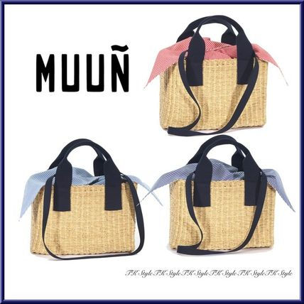 Casual Style Cambus 2WAY Plain Handmade Straw Bags