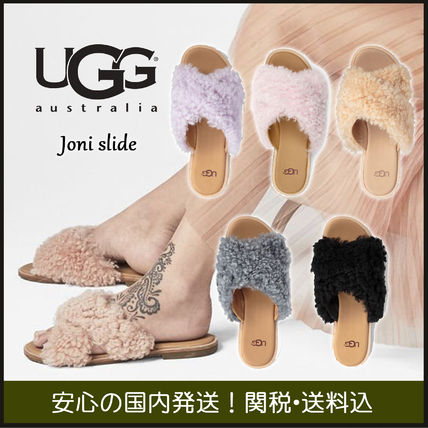 fe7748eabca UGG Australia JONI 2018 SS Open Toe Rubber Sole Casual Style Sheepskin  Plain Sandals