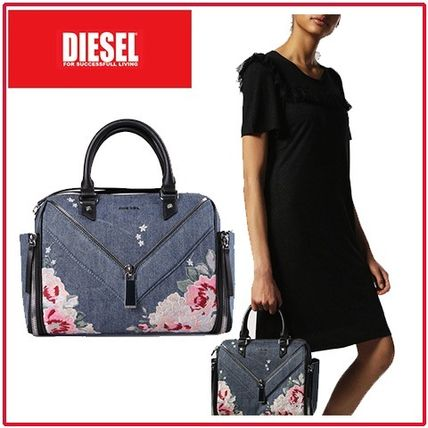Flower Patterns Casual Style 2WAY Leather Handbags