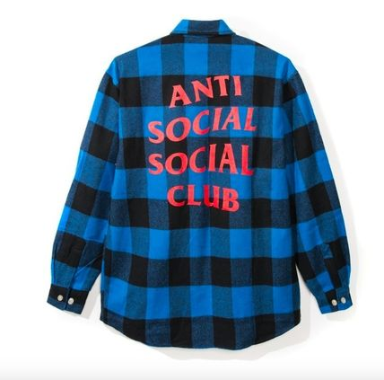 Gingham Unisex Street Style Collaboration Long Sleeves