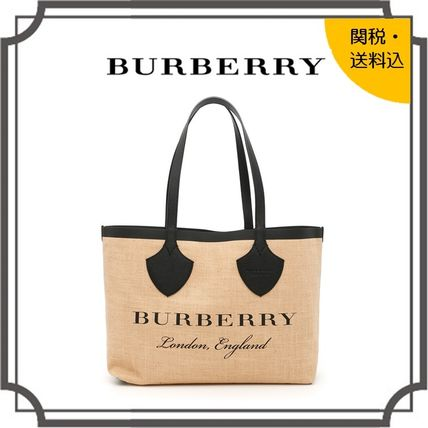 Casual Style Blended Fabrics A4 Bi-color Plain Leather Totes