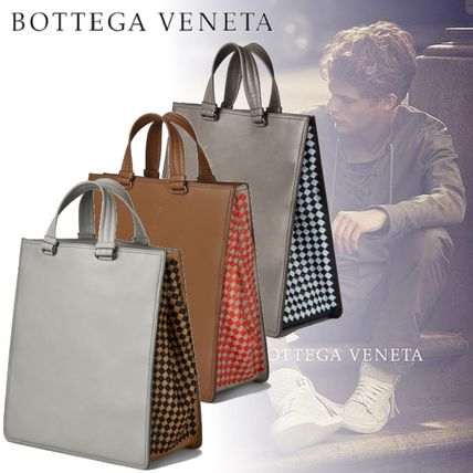 Other Check Patterns Calfskin A4 Plain Totes