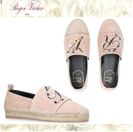 Flower Patterns Platform Round Toe Casual Style Suede