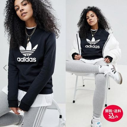 Crew Neck Casual Style Sweat Street Style Long Sleeves Plain