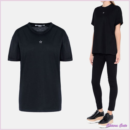 Crew Neck Short Star Casual Style Plain Cotton Short Sleeves