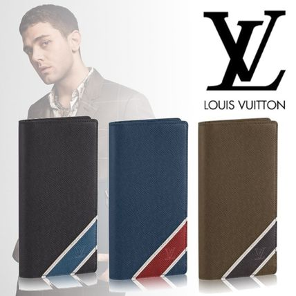 Stripes Leather Long Wallets