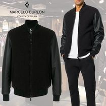 Marcelo Burlon Short Plain Leather Varsity Jackets