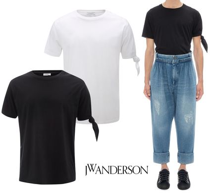 Street Style Plain Cotton Short Sleeves T-Shirts