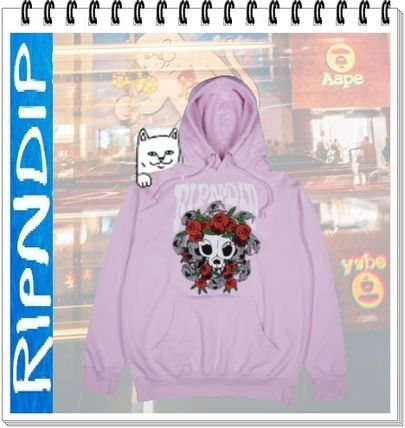 Pullovers Skull Flower Patterns Unisex Street Style