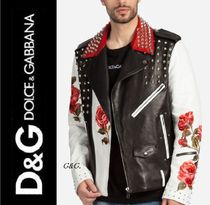 Dolce & Gabbana Flower Patterns Studded Leather Biker Jackets